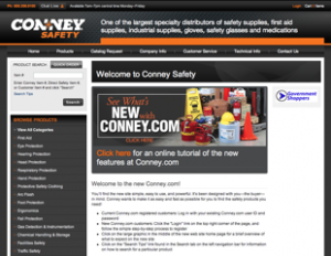 A screenshot of the Conney Safety Products website