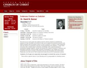 A screenshot thumbnail of the Pepper Road church of Christ website