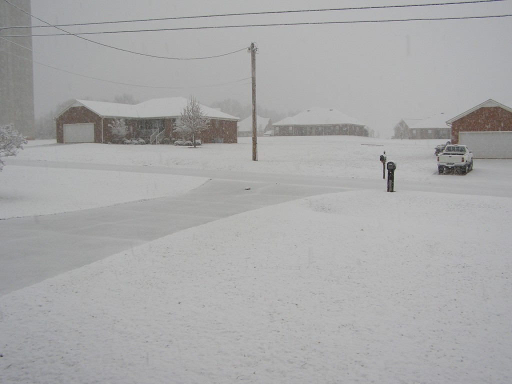 The view of our front yard and driveway and in the distance, a neighbor's house, all covered in snow with snowflakes still falling